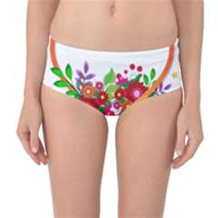Heart Flowers Sign Mid Waist Bikini Bottoms