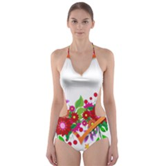 Heart Flowers Sign Cut Out One Piece Swimsuit