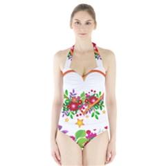 Heart Flowers Sign Halter Swimsuit