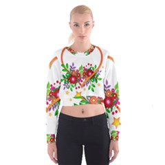 Heart Flowers Sign Cropped Sweatshirt