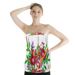Heart Flowers Sign Strapless Top