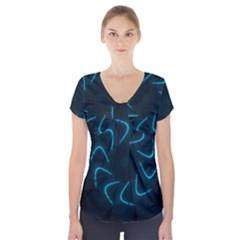 Background Abstract Decorative Short Sleeve Front Detail Top