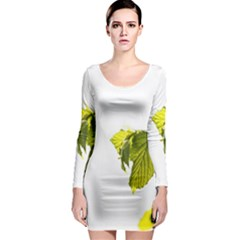 Leaves Nature Long Sleeve Bodycon Dress