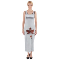 Winter Maple Minimalist Simple Fitted Maxi Dress