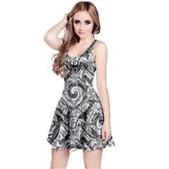 Gray Scale Pattern Tile Design Reversible Sleeveless Dress