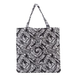 Gray Scale Pattern Tile Design Grocery Tote Bag