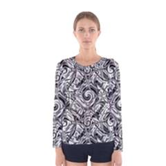 Gray Scale Pattern Tile Design Women s Long Sleeve Tee