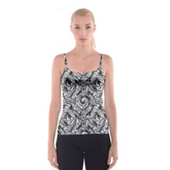 Gray Scale Pattern Tile Design Spaghetti Strap Top