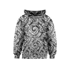 Gray Scale Pattern Tile Design Kids  Pullover Hoodie