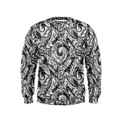 Gray Scale Pattern Tile Design Kids  Sweatshirt