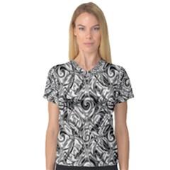 Gray Scale Pattern Tile Design Women s V Neck Sport Mesh Tee