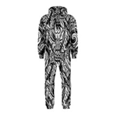 Gray Scale Pattern Tile Design Hooded Jumpsuit (kids)