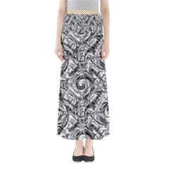 Gray Scale Pattern Tile Design Maxi Skirts
