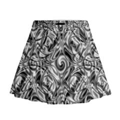 Gray Scale Pattern Tile Design Mini Flare Skirt