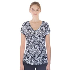 Gray Scale Pattern Tile Design Short Sleeve Front Detail Top