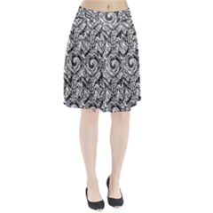Gray Scale Pattern Tile Design Pleated Skirt