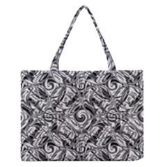 Gray Scale Pattern Tile Design Medium Zipper Tote Bag