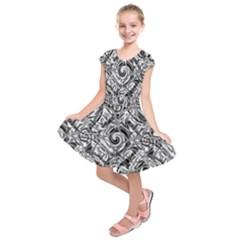 Gray Scale Pattern Tile Design Kids  Short Sleeve Dress