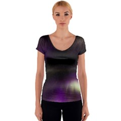 The Northern Lights Nature Women s V-Neck Cap Sleeve Top