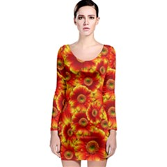 Gerbera Flowers Nature Plant Long Sleeve Bodycon Dress