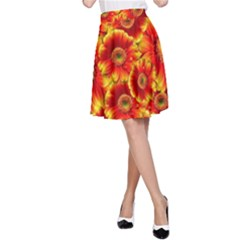 Gerbera Flowers Nature Plant A-Line Skirt