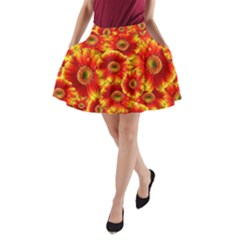 Gerbera Flowers Nature Plant A Line Pocket Skirt