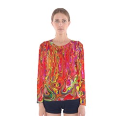 Background Texture Colorful Women s Long Sleeve Tee