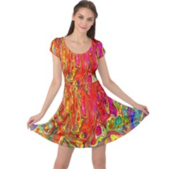 Background Texture Colorful Cap Sleeve Dresses