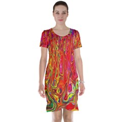 Background Texture Colorful Short Sleeve Nightdress