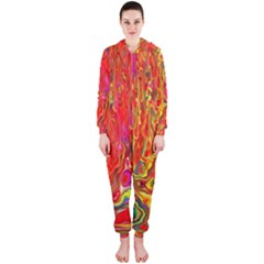 Background Texture Colorful Hooded Jumpsuit (ladies)