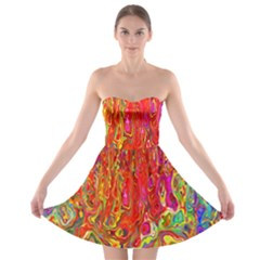 Background Texture Colorful Strapless Bra Top Dress