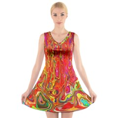 Background Texture Colorful V Neck Sleeveless Skater Dress
