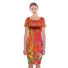 Background Texture Colorful Classic Short Sleeve Midi Dress