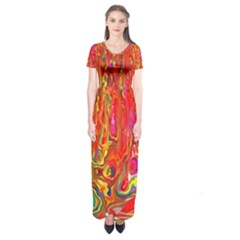Background Texture Colorful Short Sleeve Maxi Dress