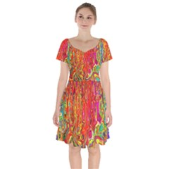 Background Texture Colorful Short Sleeve Bardot Dress