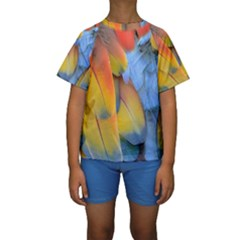 Spring Parrot Parrot Feathers Ara Kids  Short Sleeve Swimwear