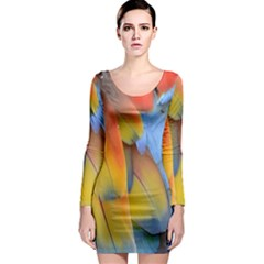Spring Parrot Parrot Feathers Ara Long Sleeve Bodycon Dress