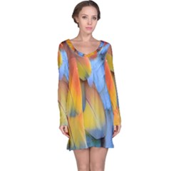 Spring Parrot Parrot Feathers Ara Long Sleeve Nightdress