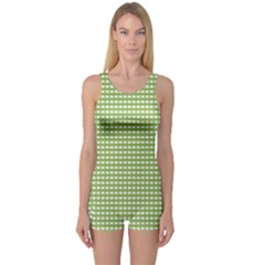 Gingham Check Plaid Fabric Pattern One Piece Boyleg Swimsuit