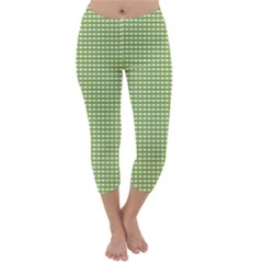 Gingham Check Plaid Fabric Pattern Capri Winter Leggings