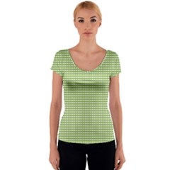 Gingham Check Plaid Fabric Pattern Women s V-Neck Cap Sleeve Top