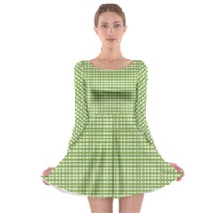 Gingham Check Plaid Fabric Pattern Long Sleeve Skater Dress