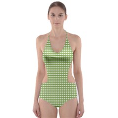 Gingham Check Plaid Fabric Pattern Cut-Out One Piece Swimsuit