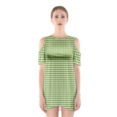 Gingham Check Plaid Fabric Pattern Shoulder Cutout One Piece