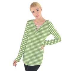 Gingham Check Plaid Fabric Pattern Women s Tie Up Tee