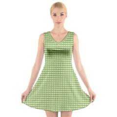 Gingham Check Plaid Fabric Pattern V Neck Sleeveless Skater Dress