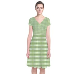 Gingham Check Plaid Fabric Pattern Short Sleeve Front Wrap Dress