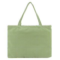 Gingham Check Plaid Fabric Pattern Medium Zipper Tote Bag