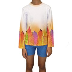 Autumn Leaves Colorful Fall Foliage Kids  Long Sleeve Swimwear