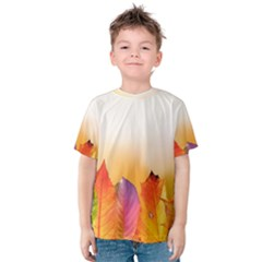 Autumn Leaves Colorful Fall Foliage Kids  Cotton Tee